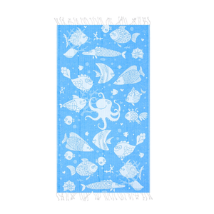 Fishes | Kids Beach Towel | %100 Cotton Beach Blanket | Sandree & Lightweight - Hencely