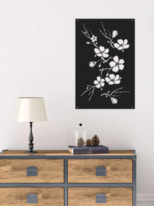 Flowers Metal Wall Panel | Black Floral Metal Wall Decor | Contemporary Wall Art - Hencely