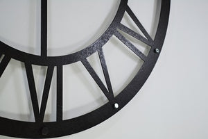 Black Metal Wall Clock With Roman Numerals - Hencely