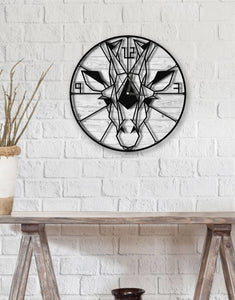 The Giraffe | White | Rustic Round Wall Clock | Wood Metal Hanging Clock - Hencely