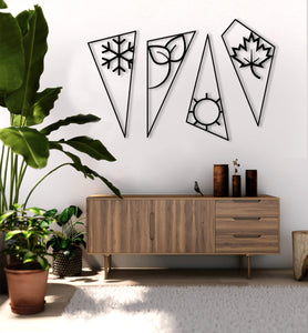 4 Four Seasons Metal Wall Art Set Metal