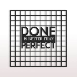 Done Is Better Than Perfect | Metal Wall Art | Inspirational Pegboard |  Decorative Wall Organizer - Hencely