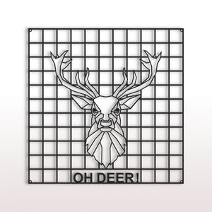 "El panel de pared Deer Metal Grid ""¡Oh, ciervo!"" Organizador de pared de metal pegboard - por lo tanto"