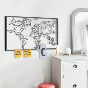 World Metal Map Wall Organizer - Hencely