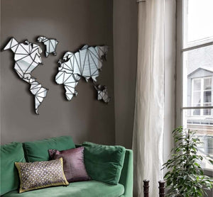 Mirror on the Wall | World Map Wall Decor | Wall Art Set - Hencely