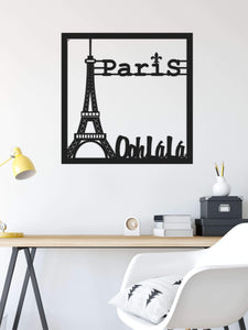 Paris, O La La Eiffel Tower Metal Wall Decor  Black Metal Wall Hanging - Hencely