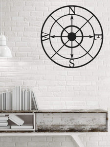 Compass Wall Art  | Round Metal Wall Hanging | Contemporary Wall Decor - Hencely