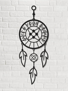 Catch Your Dreams Metal Wall Art Dream Catcher in metallo nero - Hencely