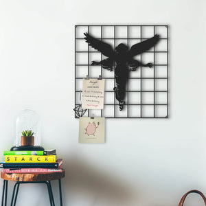 "The Angel Metal Wall Art Panel |""Angel Figure"" Pegboard Decorative Wall Organizer - Hencely"