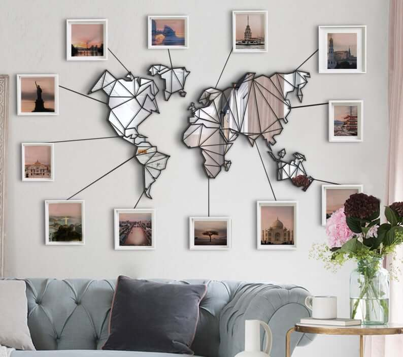 Mirror On The Wall World Map Wall Decor Hencely Home Decor