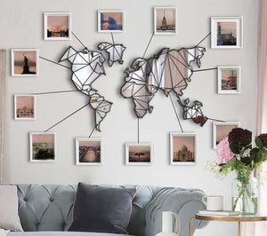 Mirror on the Wall Map - Mirror World Map Wall Decor  - Hencely