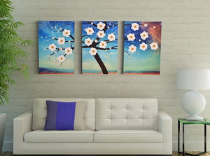 Lifelike Flowers | Shades Of Night Canvas Wall Decor Set | Canvas Art Deco Painting - Hencely