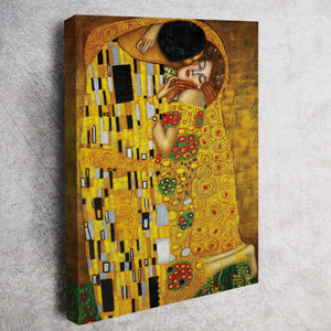 Gustav Klimt's The Kiss  Canvas Wall Hanging - Hencely