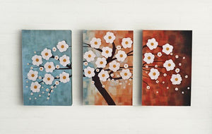 Lifelike Flowers | Day Time Colors Wall Decor Set | Canvas Art Deco Painting - Hencely