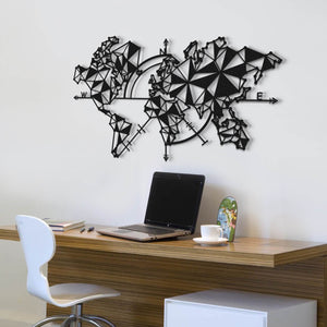 Black Compass World Map | Contemporary Metal Wall Decor | World Map Wall Art - Hencely