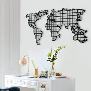 World Map Metal Grid Wall Art & Metal World Map Wall Decor - Hencely