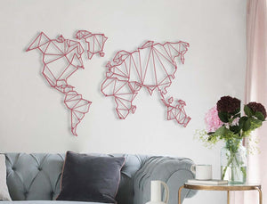 Pink Metal World Map Wall Decor Set & Pink Wall Hanging - Hencely
