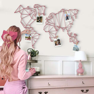 Pink World Map | Pink Metal Wall Hanging | Contemporary World Map Wall Art - Hencely