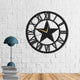 The Star| Metal Wall Clock | Romen Numerals | Round Hanging Clock - Hencely
