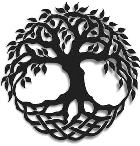 Tree Of Life Symbol | Round Metal Wall Decor | Figurative Metal Wall Hanging - Hencely