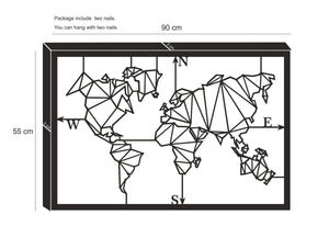 Geometric World Map Metal Wall Panel & Abstract Design Metal Wall Hanging - Hencely