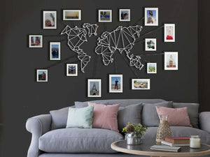 White World Map Wall Hanging Set & Metal Wall Panel - Hencely