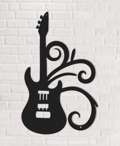 The Wall Guitar Black Metal Wall Art - Hencely