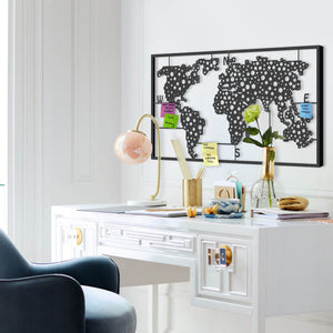 Metal World Map Pegboard |  Large  Metal Wall Decor  120 x 68 x 4 cm - Hencely