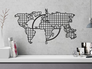 World Map Metal Grid Pegboard & Compass Decoración decorativa de pared de metal - Por lo tanto