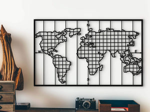 Modern World Map Metal Grid Wall Panel & World Map Grid Wall Art - Hencely