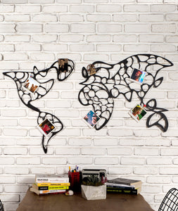 World Map Metal Wall Panel - Decorative Metal Wall Photo Hanger - Hencely