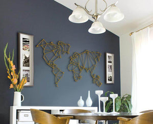 Gold World Map Metal Wall Art Set & Contemporary Wall Hanging - Hencely