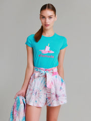 Amanda Tie dye swiss dot cotton high waisted shorts