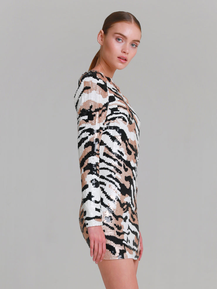 "ANGELINE ""Bengali Tiger"" sequins mini dress"