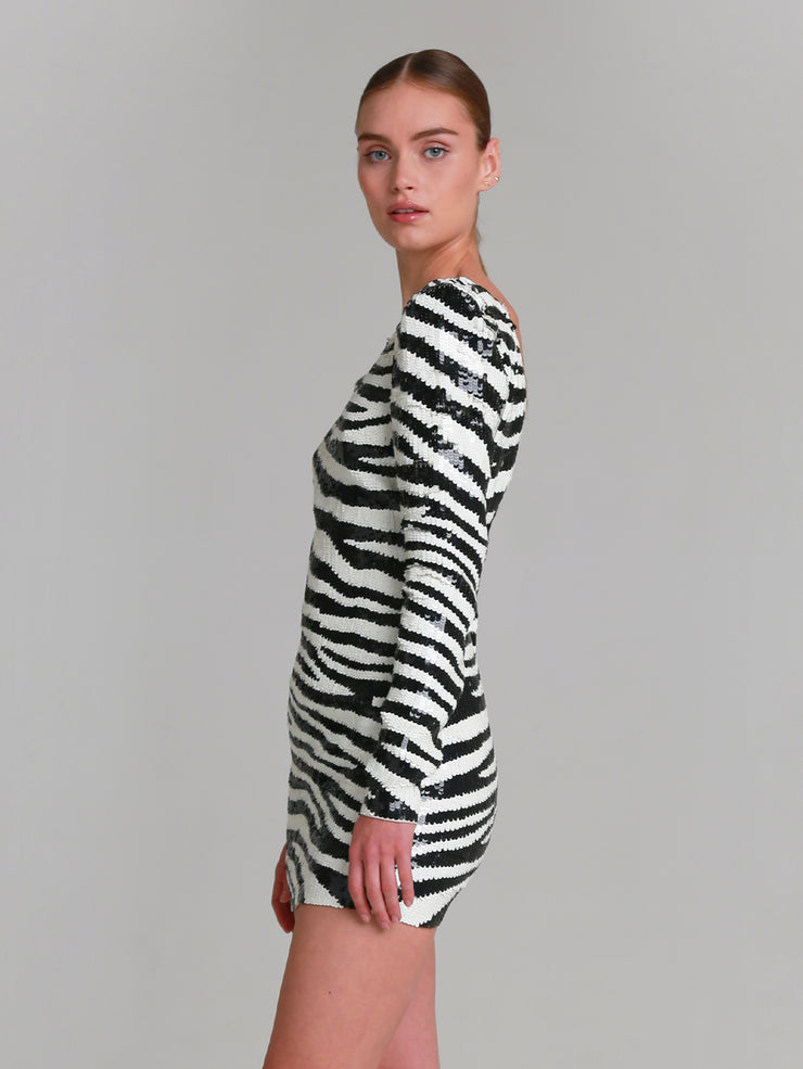 "ELEANOR Hand beaded ""zebra"" v-back mini dress"