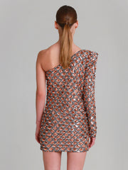 "FIONA one shoulder hand beaded ""Mermaid"" sequins mini dress"