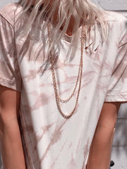 JULIA Hand tie dyed and distressed cotton tee shirt in tan