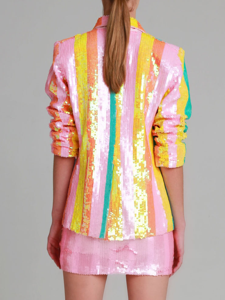 JULIA Hand beaded wide stripe sequin blazer