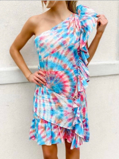 LEILA Tie dye swiss dot cotton one shoulder dress with ruffles