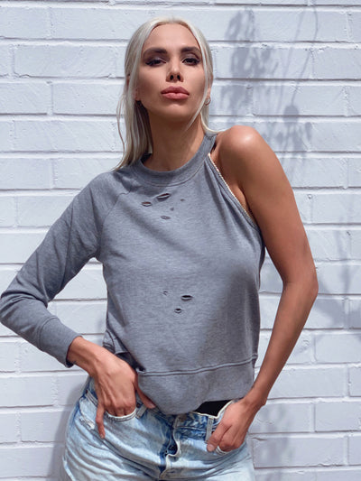 LAKEN Distressed sweatshirt in gray