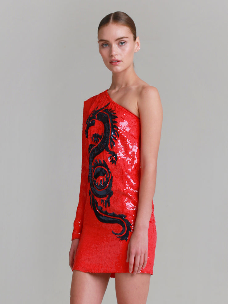 "LIZA one shoulder ""Blue Dragon"" beaded sequins mini dress with navy dragon embroidery"