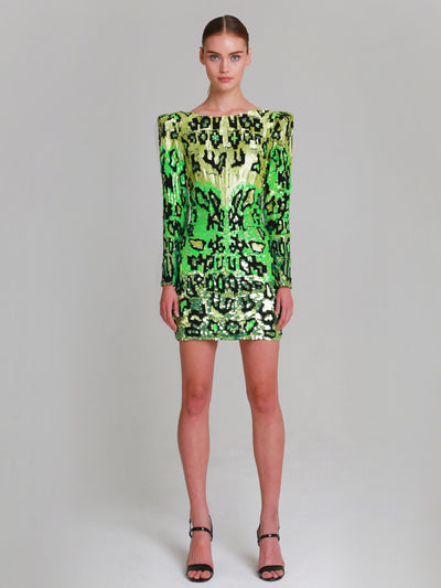 "LUDMILA hand beaded ""Water Snake"" v-back mini dress"