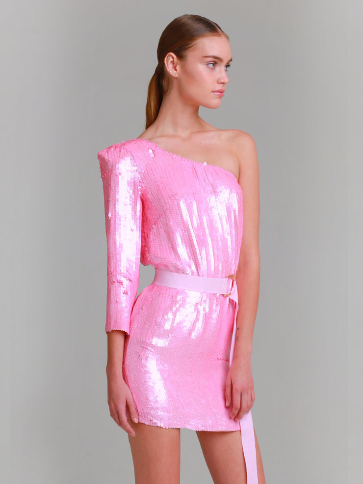 MELODY Pink Hand beaded one shoulder sequin dress