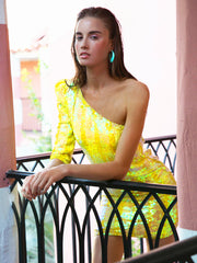 OLIVIA Yellow One shoulder hand beaded sequin dress