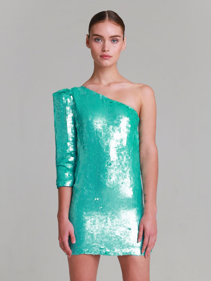 REBECCA Emerald Green One shoulder hand beaded sequin dress