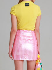 TAYLOR Pink Hand beaded sequin skirt