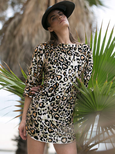 "VALERIE Hand beaded ""leopard"" tunic dress"