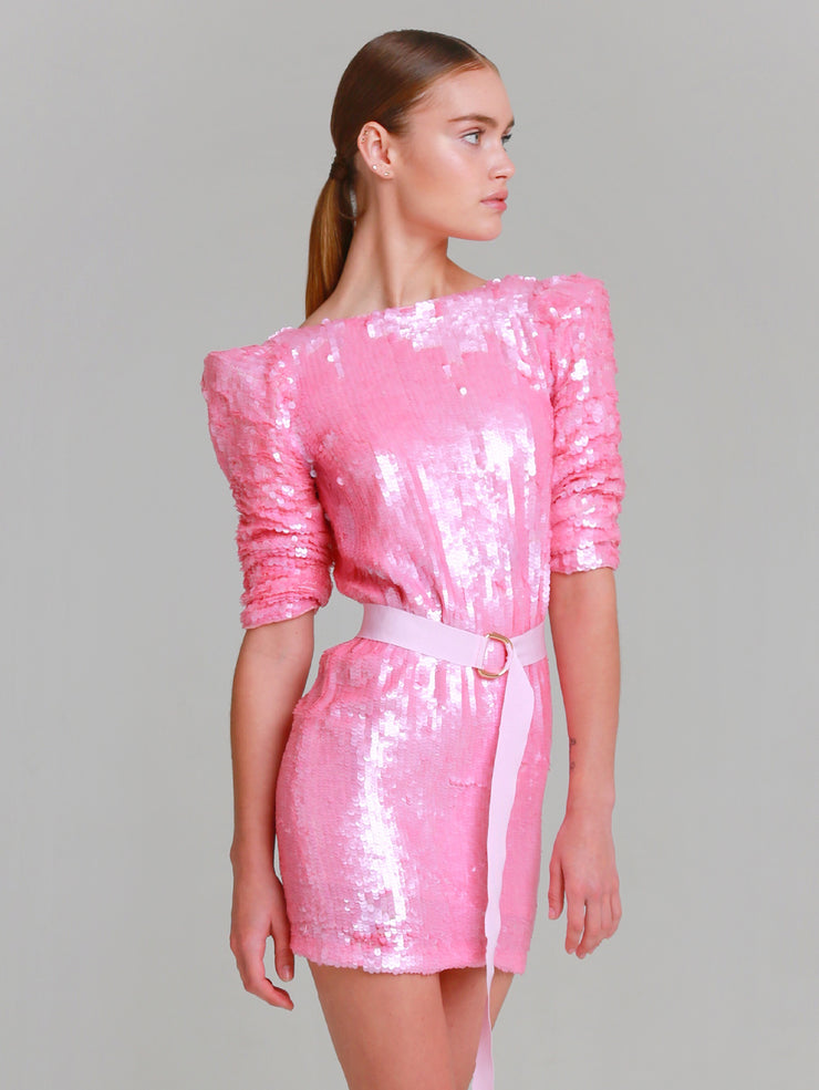 PINK hand beaded easy fit v-back dress
