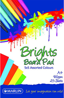 Book Board Pad Bright Assorted - 25 sheet, 160g
