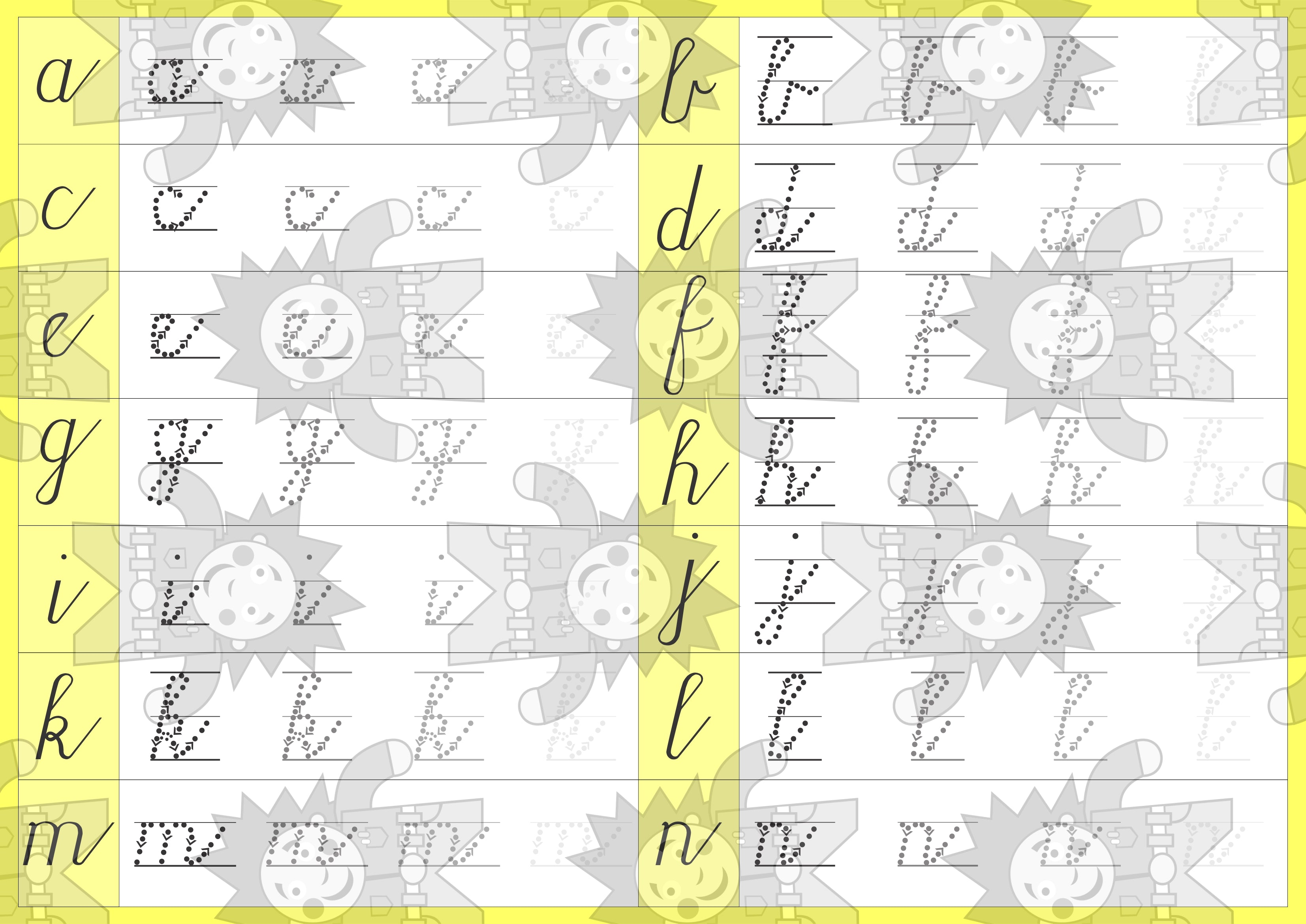 Cursive a-z writing -Double Sided